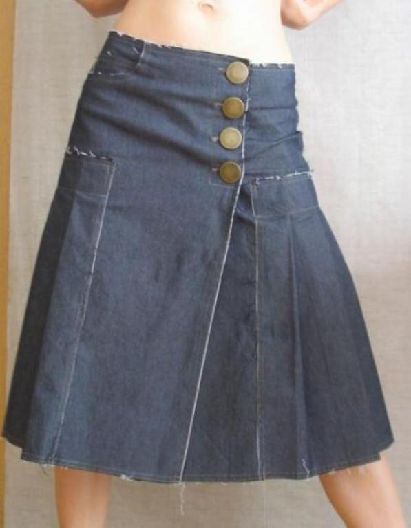 Видео как сшить юбку из старых джинсов своими руками