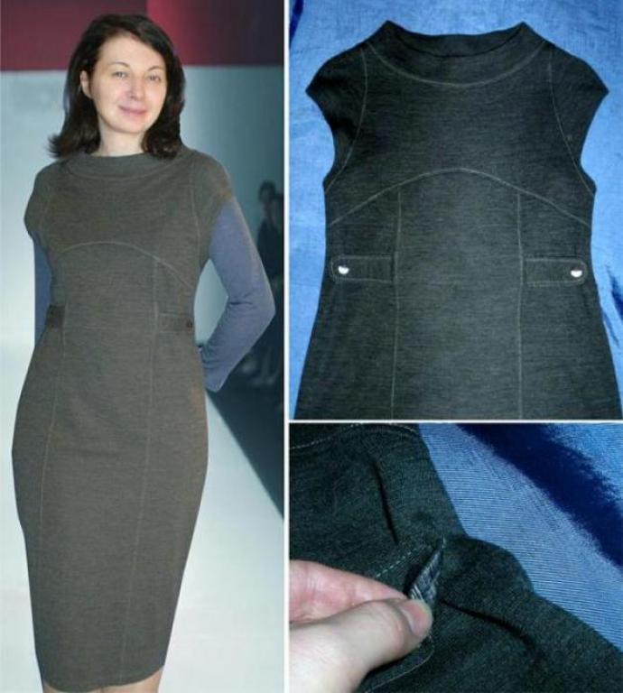 Описание: Фото офисное платье.  Шьем платье из шерстяного трикотажа.