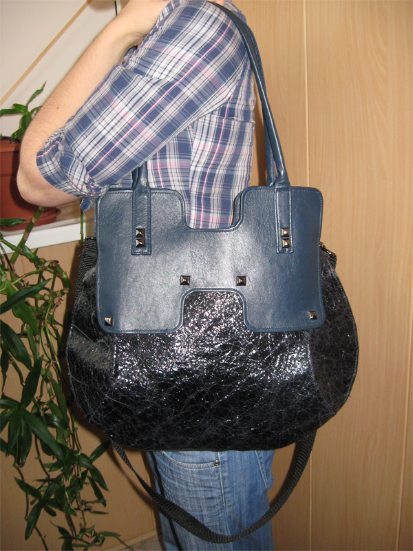 сумка черная с синим