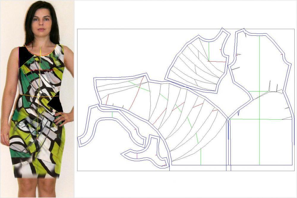 Эскиз платья и раскладка деталей на ткани