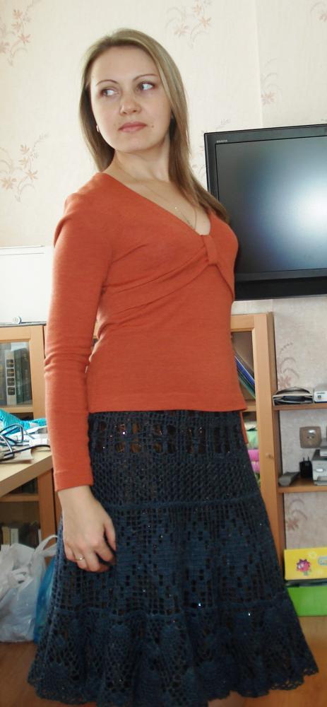 новое обрамление старой вязаной юбочки
