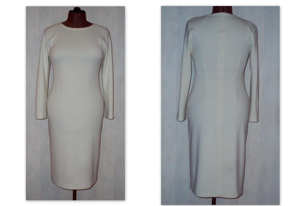 Фасон платья из трикотажа с воротником хомут.