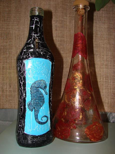 Мои первые попытки украшательства бутылок