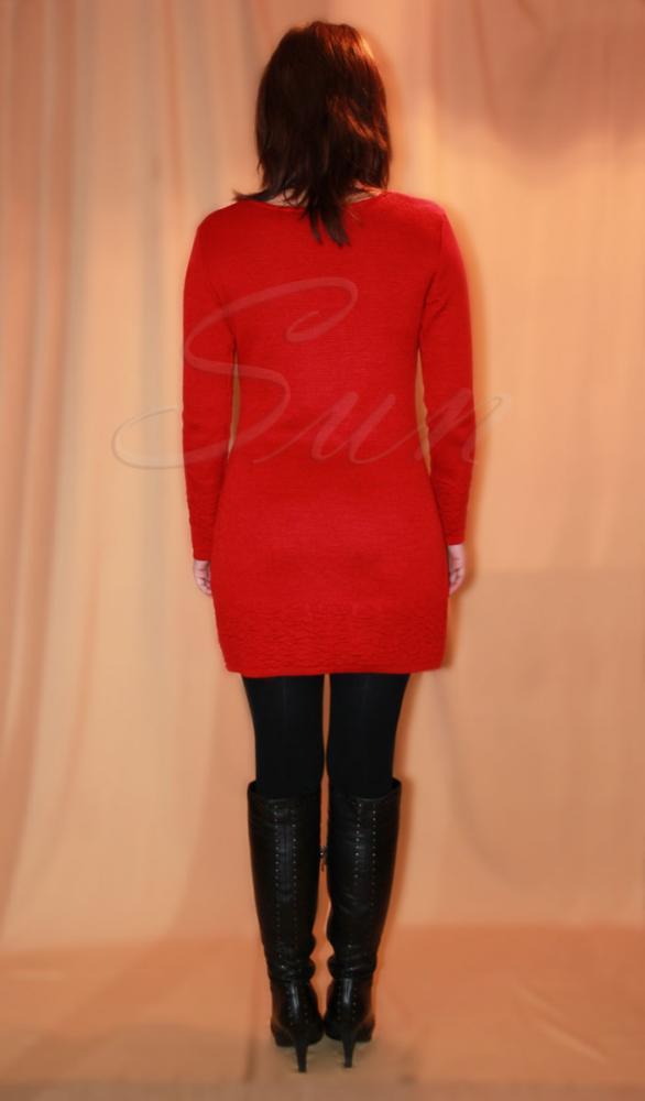 Трикотажное красное платье