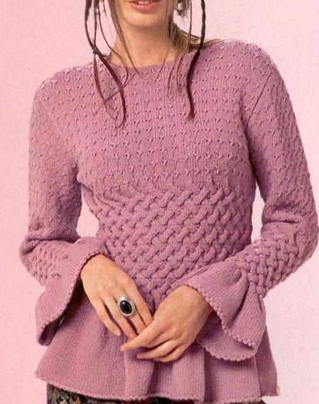 Модели и схемы вязания спицами. фото вязаной спицами кофты Кофточка для девочек 6-8лет связана спицами