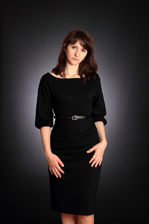 Черное платье из джерси