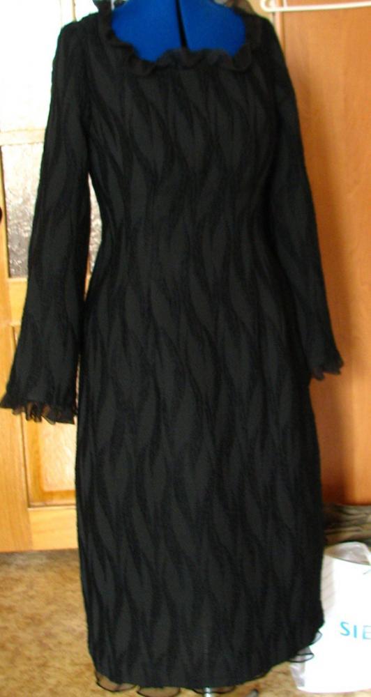 платье из шерсти с отделкой шифоном