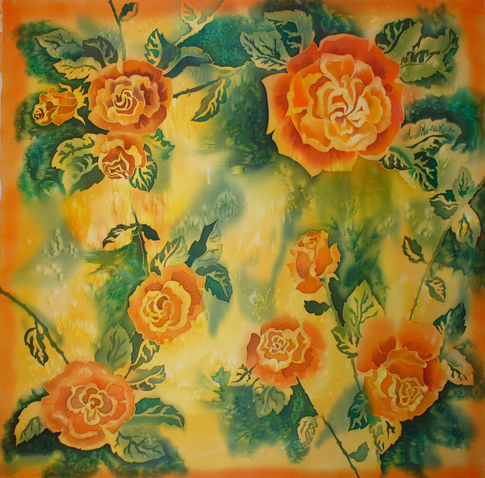 """Платок """"Оранжевые розы"""""""