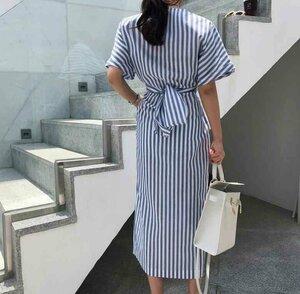 Summer-Blue-Striped-Shirt-Dress-Women-Casual-O-Neck-Short-Sleeve-Cross-Lace-Up-Front-Split.jpg_q50.jpg