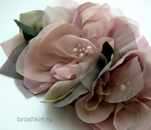 Цветок для броши из ткани своими руками