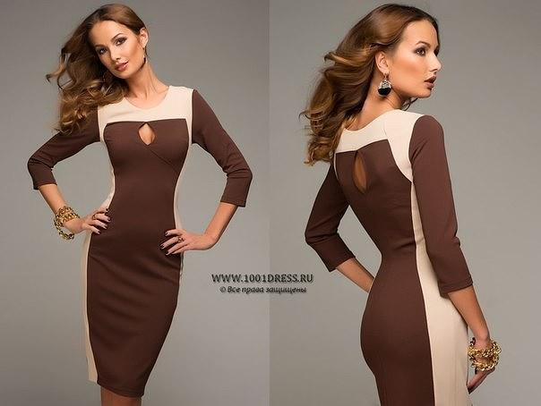 Платья с комбинированными тканями