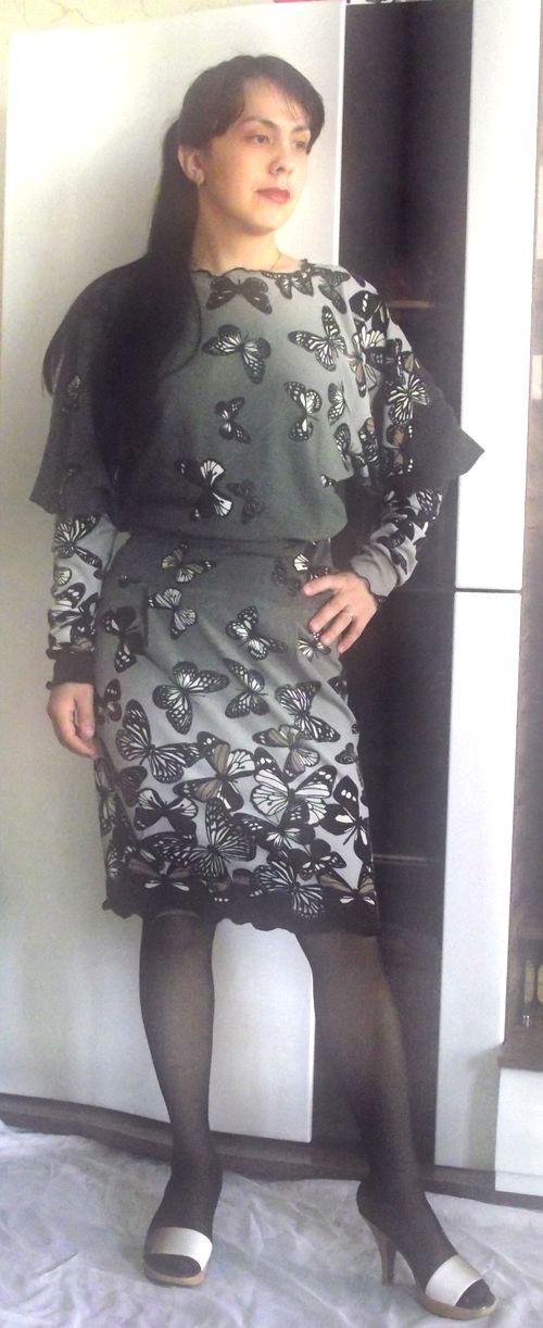 Платье из купонной ткани 46
