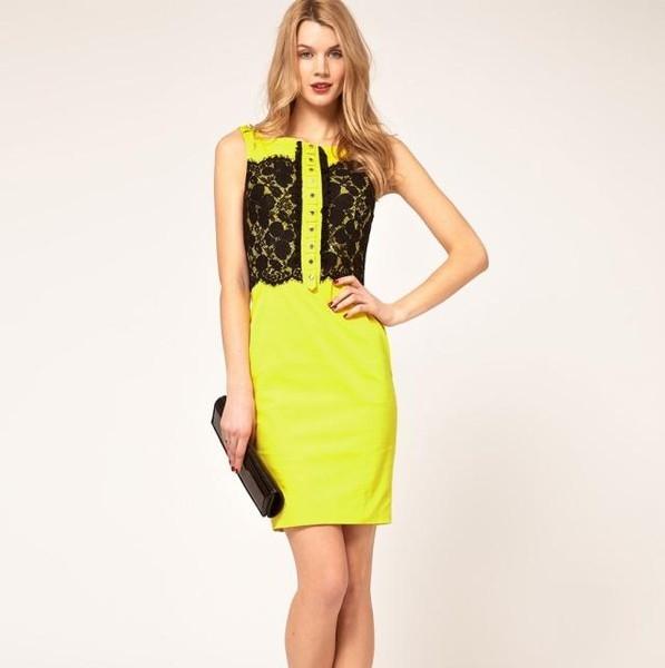 Желтые платья с черным кружевом