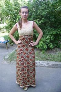 Комбинированные платье из ткани и вязания крючком