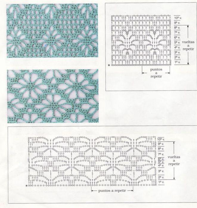 Ромбы крючком схемы вязания