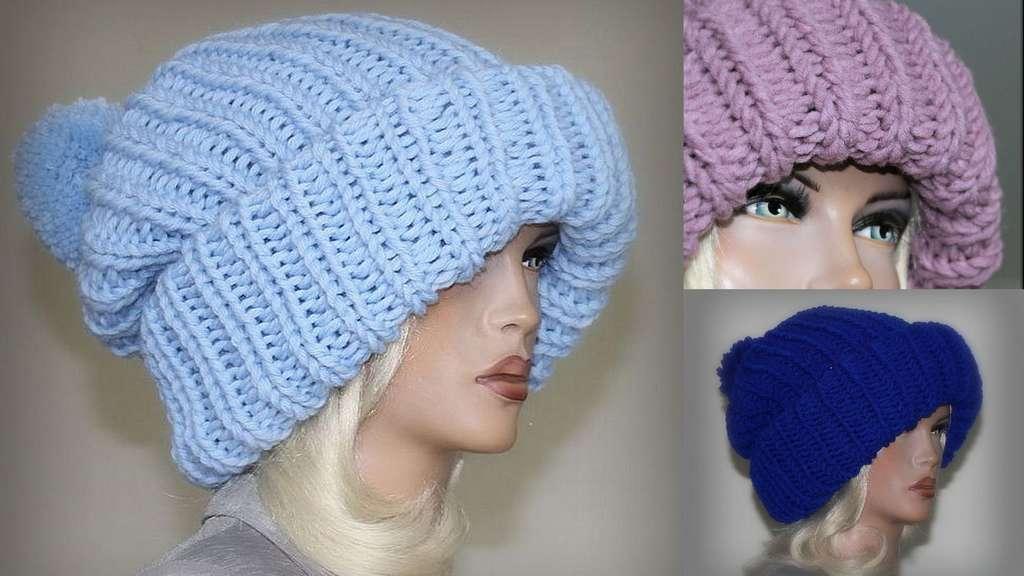 Объемная шапка вязание спицами мастер класс + видео