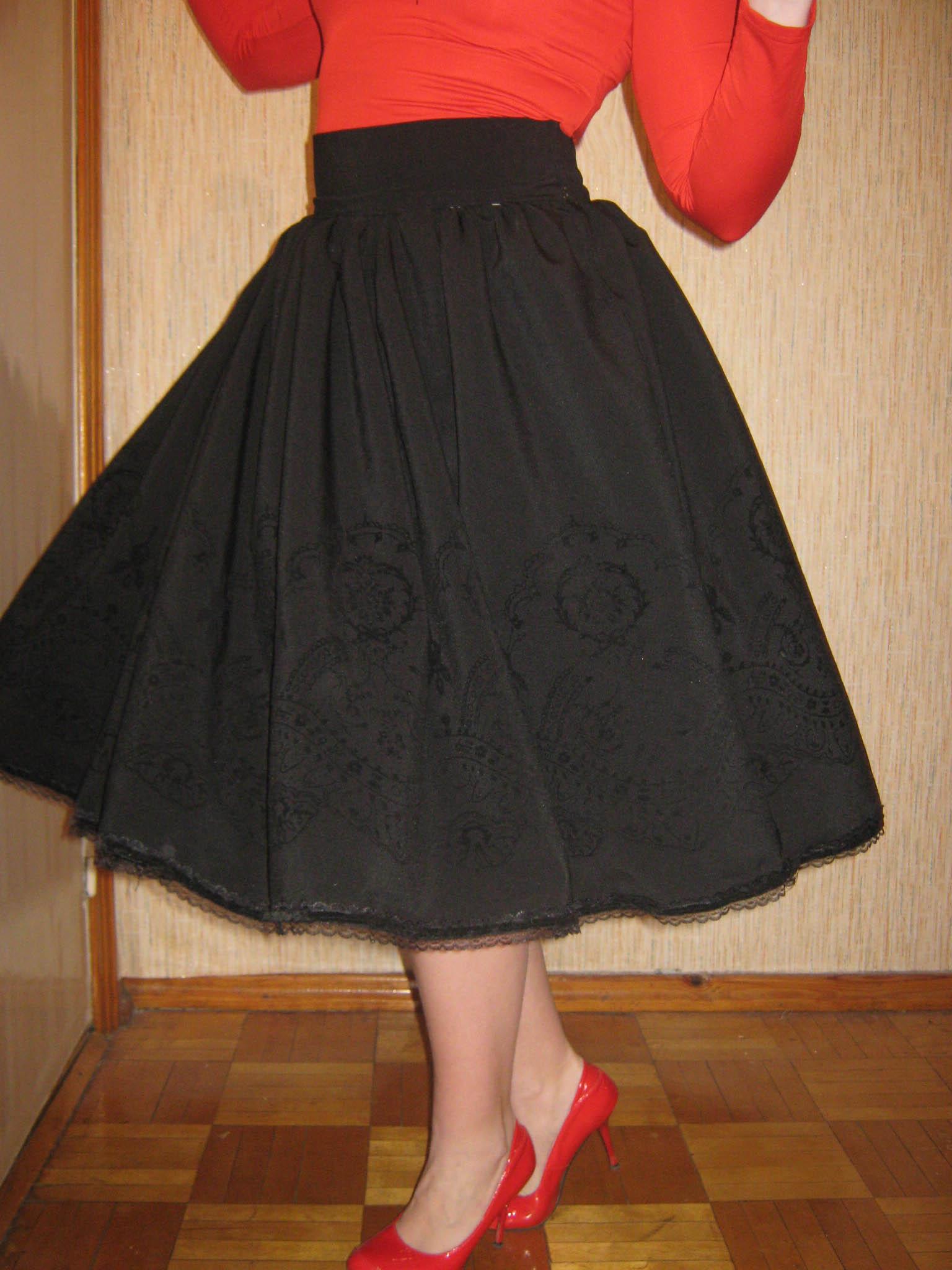 Как сделать юбку на широком поясе