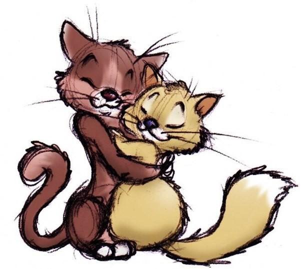 Картинки с обнимающимися котами нарисованные, люблю