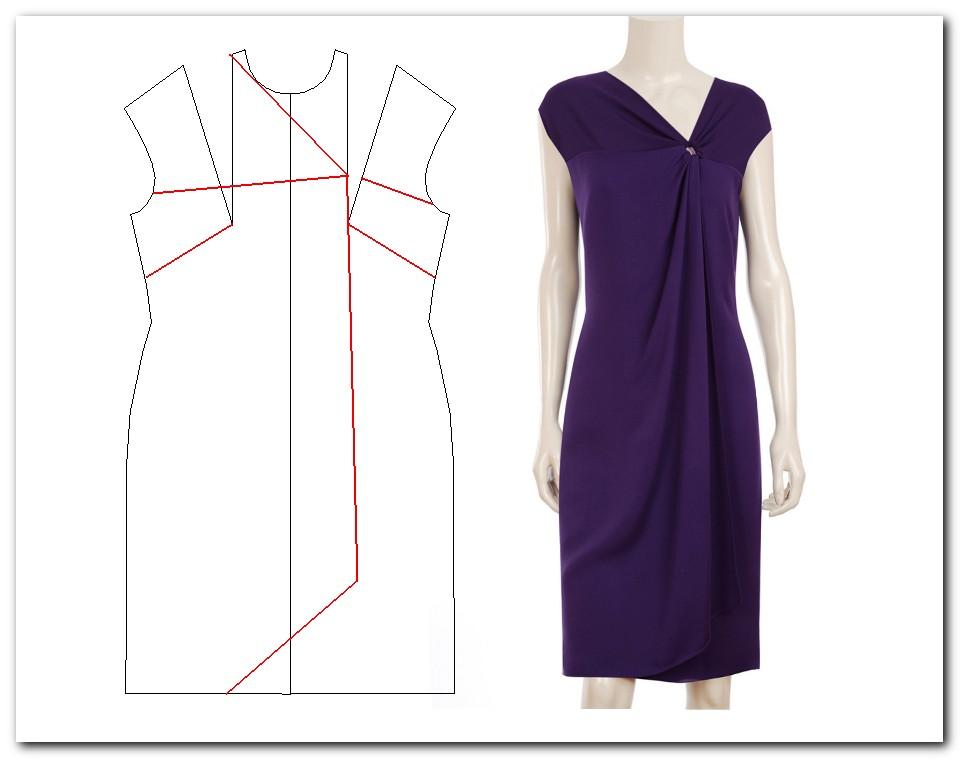 Сшить платье с драпировкой из трикотажа