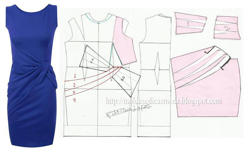 Выкройки платьев с драпировками своими руками