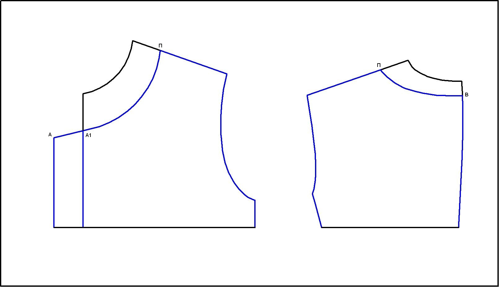Выкройка стойки прилегающей к шее