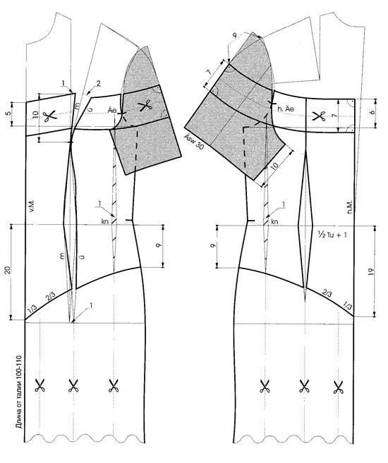 Выкройка платья с оголенными плечами