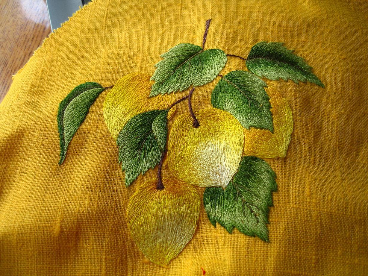 Вышивка фрукты гладью 35