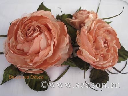 Цветы из ткани мастер класс розы