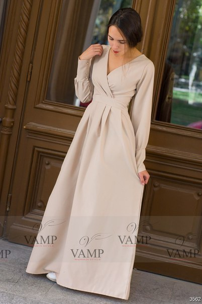 Длинное платье из габардина