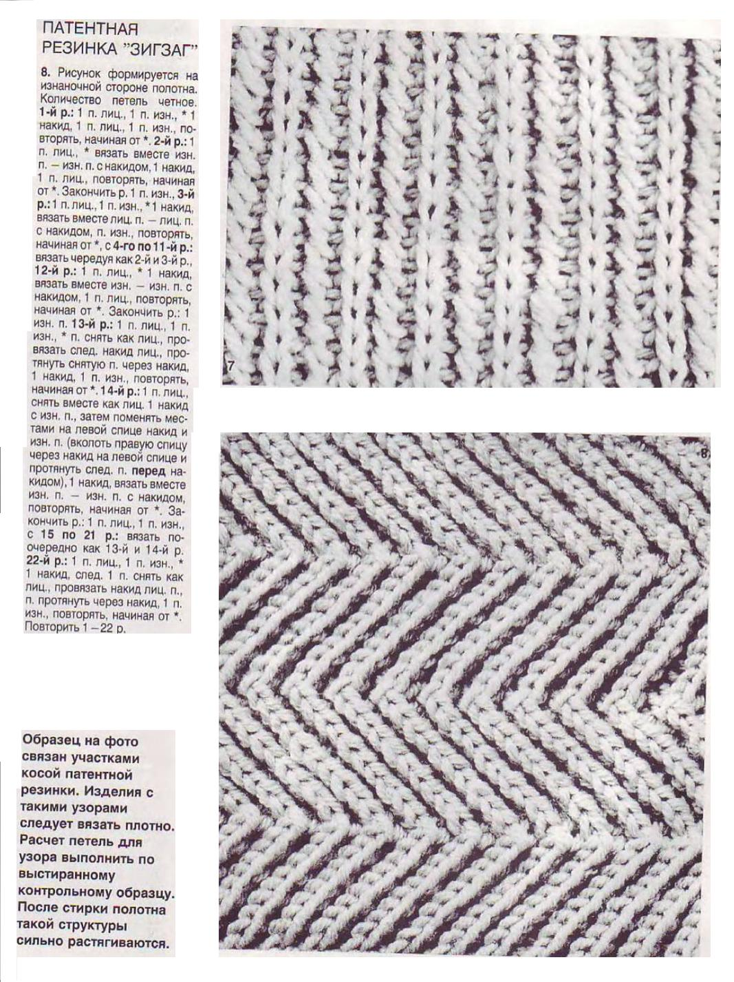 Вязание зигзагообразной резинки спицами