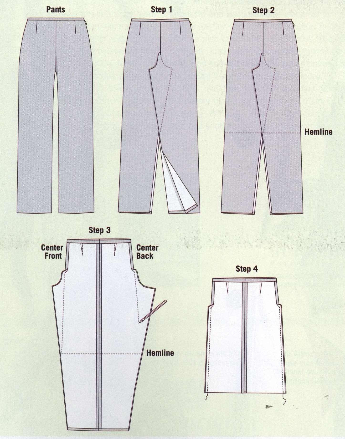 Из брюк сшить юбку брюки своими руками