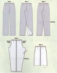 Перешить юбку из широких брюк