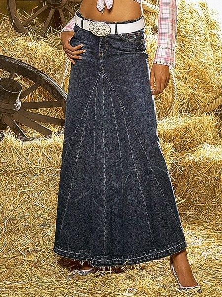 Длинные юбки из старых джинсов фото