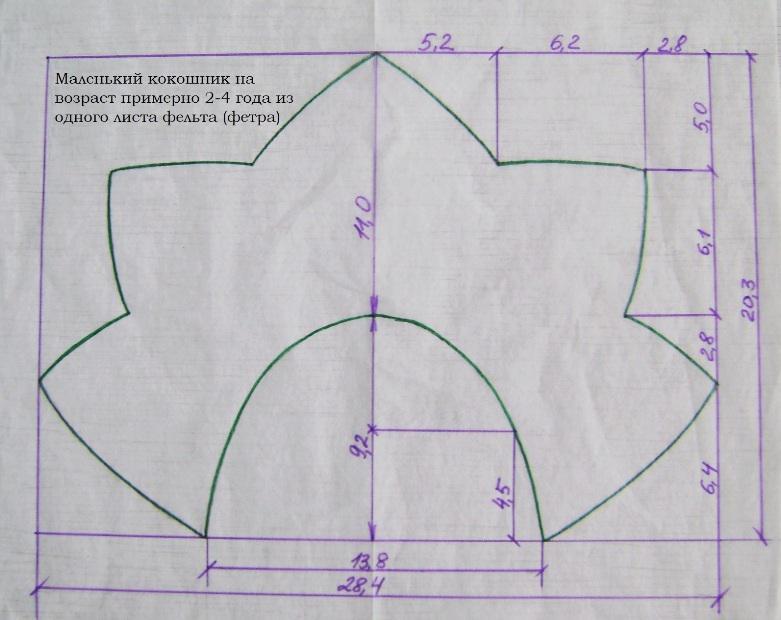Как сделать выкройку кокошника 811