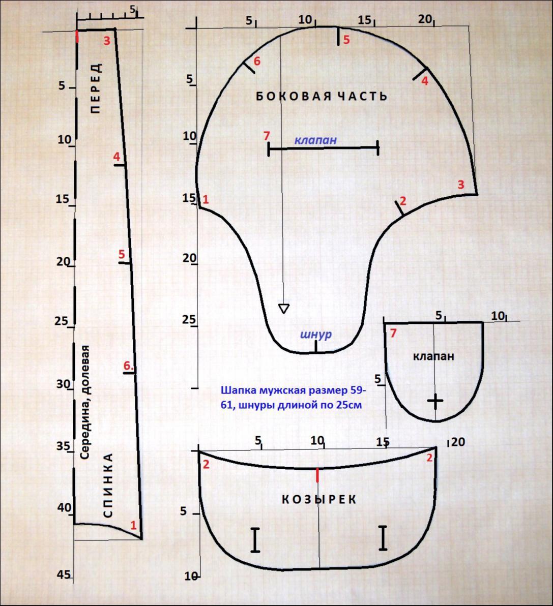 выкройка для лекала мужской шапки ушанки комплект Следовательно